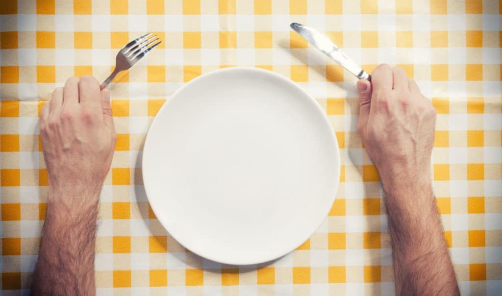 Male hand holding knife and fork near the empty plate